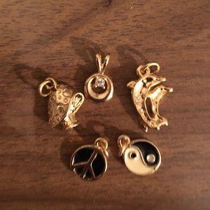 Five miscellaneous bracelet/necklace charms